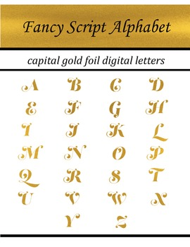 Fancy Gold Foil Script Alphabet: Complete Capital Letters Pack