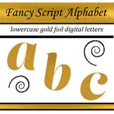 Fancy Gold Foil Script Alphabet: Complete Lowercase Letters Pack
