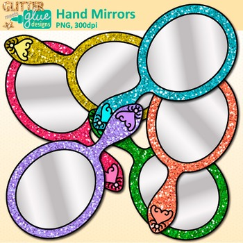 Hand Mirror Clip Art {Rainbow Glitter Looking Glasses, End of Year Ideas}