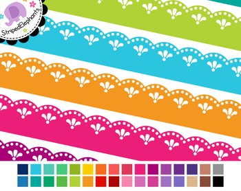 Fancy Lace Digital Ribbon Borders