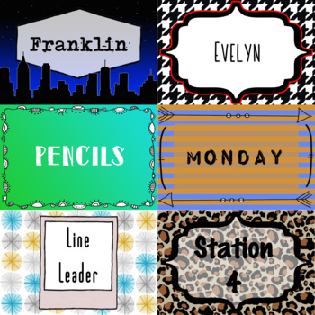 Fancy Name Tags, Locker Tags, Labels, Blank Flash Cards - 26 Editable Designs
