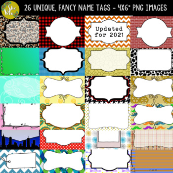 EDITABLE Fancy Name Tags, Locker Tags, Labels, Blank Flash Cards - 26 Designs