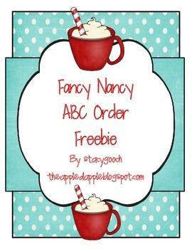 Fancy Nancy ABC Order Freebie