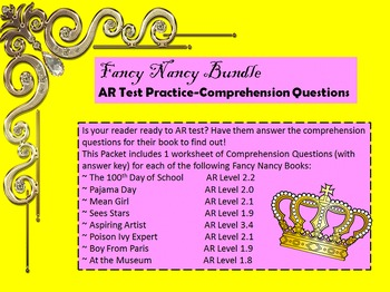 Fancy Nancy Bundle: Comprehension Questions & Activities