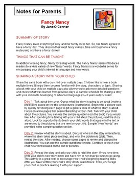 Fancy Nancy Parent Notes