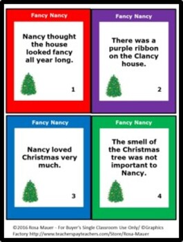 Fancy Nancy, Splendiferous Christmas Book Unit with Task Cards and Worksheet