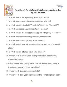 Fancy Nancy's Favorite Fancy Words byJane O'Connor Battle of the Books Questions