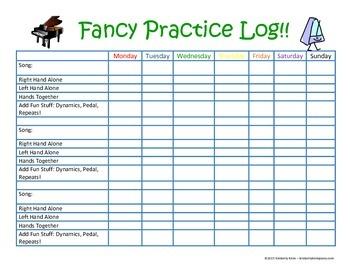 Fancy Piano Practice Checklist
