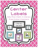 Quatrefoil Center Labels - Literacy, Math, Free Choice and More