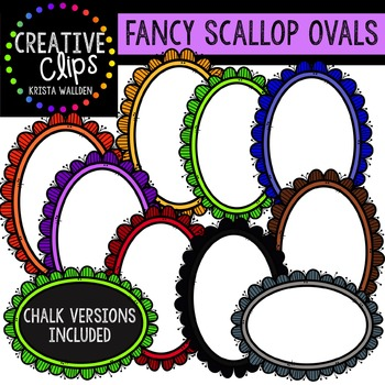 Fancy Scallop Ovals {Creative Clips Digital Clipart}