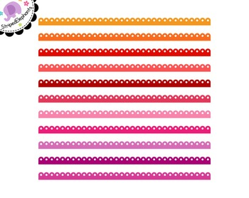 Fancy Scalloped Digital Ribbon Borders
