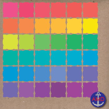 Fancy Sculpted Square Frames & Labels in 36 Bright Colors