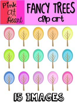 Fancy Trees Clip Art - Oval