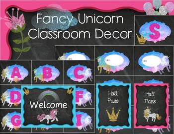 Fancy Unicorn and Crowns Classroom Decor