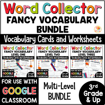 Word Collector Vocabulary Activities: Word of the Week Bundle for 3rd Grade & Up