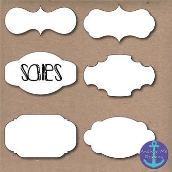 Fancy White Frames Clip Art w/ & w/o Shadows for TPT Sellers & Digital Bulletins