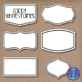 Fancy White Frames Clip Art w/ & w/o Shadows for TPT Sellers & Digital Bulletins