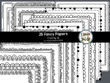 Fancy and Striped Black and White Borders and Striped Paper