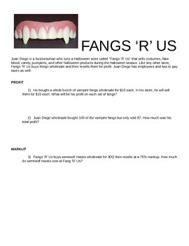 Fangs 'R' Us - PERCENTS OF AMOUNTS