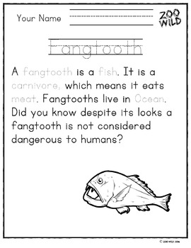 Fangtooth -- 10 Resources -- Coloring Pages, Reading & Activities
