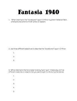 Fantasia 1940 film follow along sheet