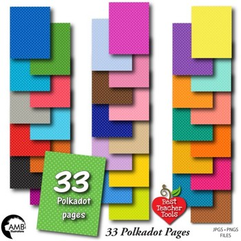 33 POLKADOT Colors Bundle Papers,Tone on Tone {Best Teache