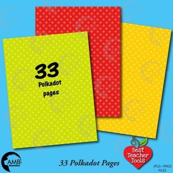 33 POLKADOT Colors Bundle Papers,Tone on Tone {Best Teacher Tools} AMB-1892