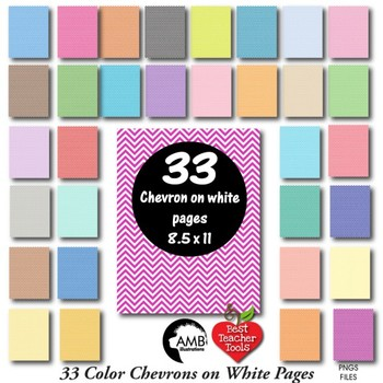 Colorful Bundle of 33 chevron on white papers {Best Teacher Tools} AMB-1899