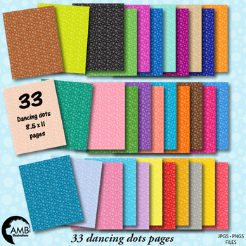 Dancing Dots Papers in 33 colors {Best Teacher Tools} AMB-1902