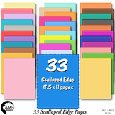 Color Bundle of 33 Scalloped Edge Digital Papers {Best Teacher Tools} AMB-1904
