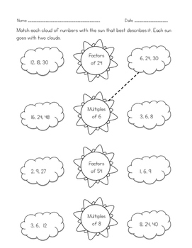 Factors & Multiples Worksheets for Practice, Review and Homework