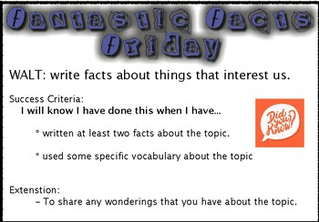Fantastic Facts Friday - Writing WALT and SC