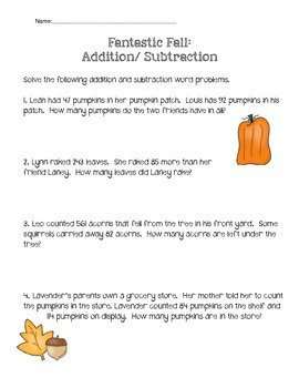 Fantastic Fall: Addition and Subtraction
