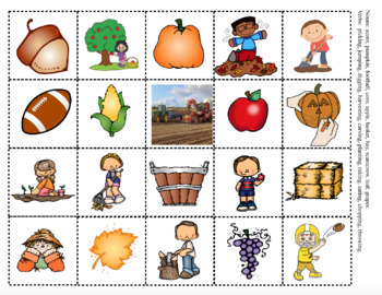 Fall Phonemic Awareness and Vocabulary Activities