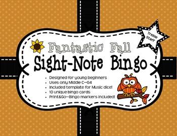 Fantastic Fall Sight Note Bingo: Treble Staff