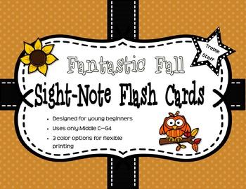 Fantastic Fall Sight-Note Flashcards: Treble Staff