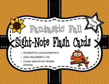 Fantastic Fall Sight-Note Flashcards: Treble Staff