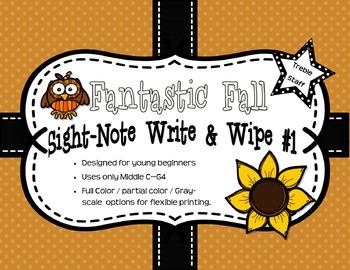 Fantastic Fall Sight-Note Write & Wipe #1: Treble Staff