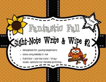 Fantastic Fall Sight-Note Write & Wipe #2: Treble Staff