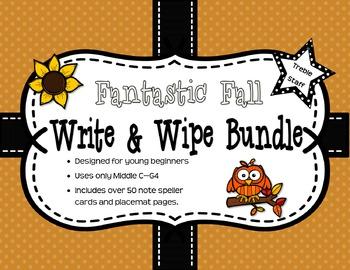 Fantastic Fall Sight-Note Write & Wipe Bundle: Treble Staff