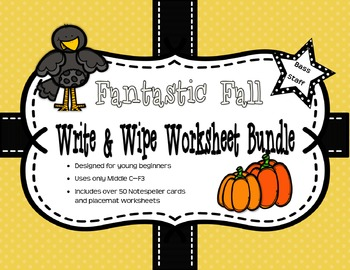 Fantastic Fall Sight-Note Write & Wipe Worksheet Bundle: Bass Staff