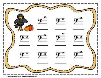 Fantastic Fall Sight-Note Write & Wipe Worksheets #1  - Bass Staff