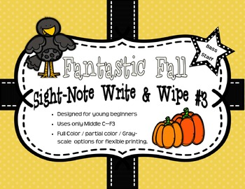 Fantastic Fall Sight-Note Write & Wipe Worksheets #3 - Bass Staff