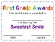 Fantastic First Grade Awards - End of the Year