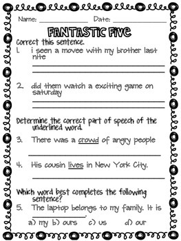 Fantastic Five Year-Long Grammar Daily Warm-Up- 1st Five for FREE!