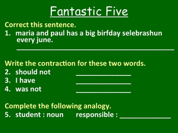 Fantastic Five Year-Long Grammar Daily Warm-Up- Editable Edition!