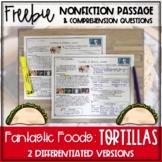 Fantastic Foods: Tortillas Nonfiction Passage FREEBIE - Di