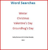Fantastic Four Word Searches: Winter, Christmas, Valentine, Groundhog's Day
