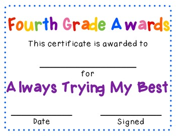 Fantastic Fourth Grade Awards - End of the Year