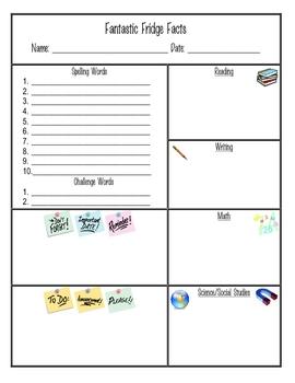 Fantastic Fridge Facts - (homework, parents, reminders, info)